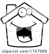 Cartoon Clipart Of A Black And White Happy Home Vector Outlined Coloring Page