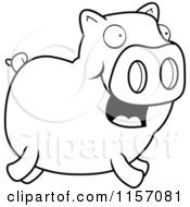 Cartoon Clipart Of A Black And White Happy Piggy Running Vector Outlined Coloring Page