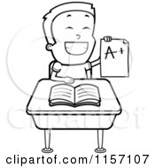 Cartoon Clipart Of A Black And White Smart School Boy Holding A Graded Paper Vector Outlined Coloring Page by Cory Thoman