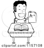 Cartoon Clipart Of A Black And White Happy Boy Holding Up An A Plus Report Card At His Desk Vector Outlined Coloring Page by Cory Thoman