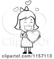 Cartoon Clipart Of A Black And White Valentine Girl Carrying A Heart Vector Outlined Coloring Page