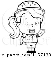 Cartoon Clipart Of A Black And White Safari Girl With An Idea Vector Outlined Coloring Page
