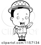Cartoon Clipart Of A Black And White Toddler Safari Boy Waving Vector Outlined Coloring Page