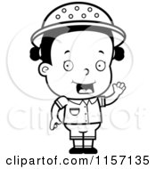 Cartoon Clipart Of A Black And White Toddler Safari Girl Waving Vector Outlined Coloring Page