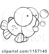 Cartoon Clipart Of A Black And White Big Eyed Goldfish Vector Outlined Coloring Page by Cory Thoman