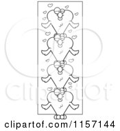 Cartoon Clipart Of A Black And White Totem Pole Of Heart Shaped Love Birds Vector Outlined Coloring Page by Cory Thoman
