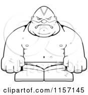 Cartoon Clipart Of A Black And White Luchador Vector Outlined Coloring Page by Cory Thoman
