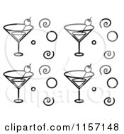 Cartoon Clipart Of A Black And White Background Pattern Of Martini Glasses Circles And Spirals Vector Outlined Coloring Page by Cory Thoman