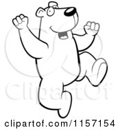 Cartoon Clipart Of A Black And White Happy Polar Bear Jumping Vector Outlined Coloring Page by Cory Thoman