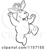 Cartoon Clipart Of A Black And White Excited Jackalope Jumping Vector Outlined Coloring Page