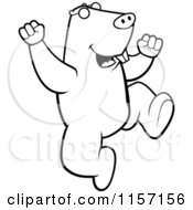 Cartoon Clipart Of A Black And White Happy Mole Jumping Vector Outlined Coloring Page by Cory Thoman