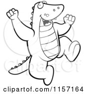 Cartoon Clipart Of A Black And White Happy Alligator Jumping Vector Outlined Coloring Page by Cory Thoman