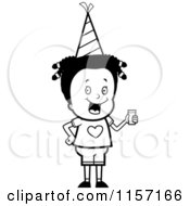 Cartoon Clipart Of A Black And White Girl Holding A Beverage At A Party Vector Outlined Coloring Page by Cory Thoman