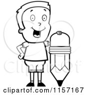Cartoon Clipart Of A Black And White Happy Boy Standing By A Pencil Vector Outlined Coloring Page by Cory Thoman
