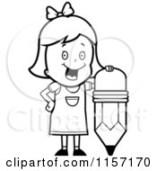 Cartoon Clipart Of A Black And White School Girl Leaning On A Stubby Pencil Vector Outlined Coloring Page by Cory Thoman