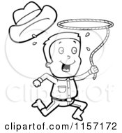 Cartoon Clipart Of A Black And White Happy Cowboy Running And Swinging A Lasso Vector Outlined Coloring Page