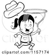 Cartoon Clipart Of A Black And White Happy Cowgirl Running And Swinging A Lasso Vector Outlined Coloring Page