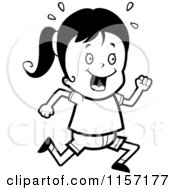 Cartoon Clipart Of A Black And White Happy Girl Running Vector Outlined Coloring Page