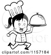 Cartoon Clipart Of A Black And White Chef Girl Running With A Platter Vector Outlined Coloring Page