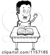 Cartoon Clipart Of A Black And White Smart Boy Sitting At A Desk With His Hand Raised Vector Outlined Coloring Page by Cory Thoman