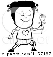 Cartoon Clipart Of A Black And White Sweet Girl Giving A Rose Vector Outlined Coloring Page