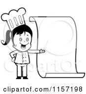 Cartoon Clipart Of A Black And White Little Chef Girl Presenting A Blank Menu Vector Outlined Coloring Page