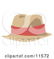 Tan Hat With A Pink Band Clipart Picture