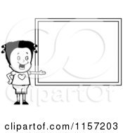 Cartoon Clipart Of A Black And White School Girl Presenting A Blank Chalkboard Vector Outlined Coloring Page by Cory Thoman