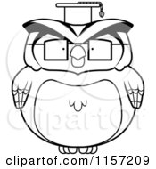 Cartoon Clipart Of A Black And White Chubby Owl Professor Vector Outlined Coloring Page by Cory Thoman