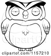 Cartoon Clipart Of A Black And White Chubby Owl Vector Outlined Coloring Page by Cory Thoman