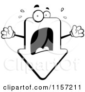 Cartoon Clipart Of A Black And White Panicked Arrow Freaking Out Vector Outlined Coloring Page