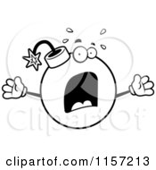 Cartoon Clipart Of A Black And White Panicked Bomb Freaking Out Vector Outlined Coloring Page