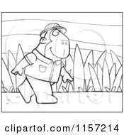 Cartoon Clipart Of A Black And White Jungle Ape Walking In A Uniform Vector Outlined Coloring Page