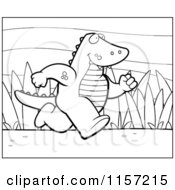 Cartoon Clipart Of A Black And White Running Alligator Vector Outlined Coloring Page by Cory Thoman