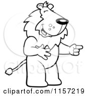 Cartoon Clipart Of A Black And White Lion Laughing And Pointing Vector Outlined Coloring Page