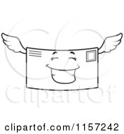 Cartoon Clipart Of A Black And White Happy Smiling Winged Letter Vector Outlined Coloring Page
