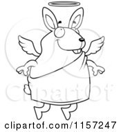 Cartoon Clipart Of A Black And White Flying Angel Rabbit With A Halo Vector Outlined Coloring Page
