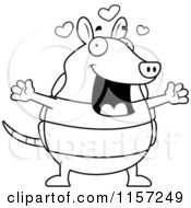Cartoon Clipart Of A Black And White Loving Armadillo With Open Arms Vector Outlined Coloring Page by Cory Thoman