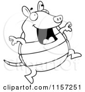 Cartoon Clipart Of A Black And White Happy Armadillo Jumping Vector Outlined Coloring Page by Cory Thoman