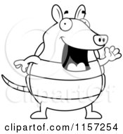 Cartoon Clipart Of A Black And White Happy Armadillo Waving Vector Outlined Coloring Page by Cory Thoman