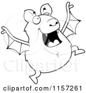 Cartoon Clipart Of A Black And White Chubby Bat Jumping Vector Outlined Coloring Page