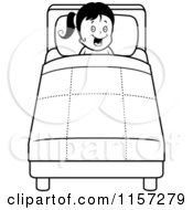 Cartoon Clipart Of A Black And White Happy Girl Tucked Into Bed Vector Outlined Coloring Page by Cory Thoman