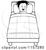 Cartoon Clipart Of A Black And White Happy Black Girl Tucked Into Bed Vector Outlined Coloring Page by Cory Thoman