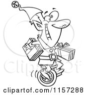 Cartoon Clipart Of A Black And White Christmas Elf Carrying Gifts On A Unicycle Vector Outlined Coloring Page