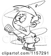 Cartoon Clipart Of A Black And White Trying To Swat A Pesty Fly Vector Outlined Coloring Page by Ron Leishman