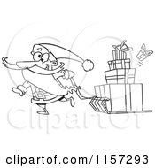 Cartoon Of Santa Pulling Christmas Gifts On A Sled Vector Outlined Coloring Page