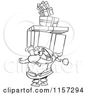 Cartoon Of Santa Holding A Stack Of Christmas Gifts Over His Head Vector Outlined Coloring Page