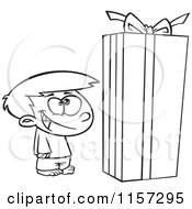 Cartoon Clipart Of A Black And White Boy Standing By A Large Christmas Gift Box Vector Outlined Coloring Page