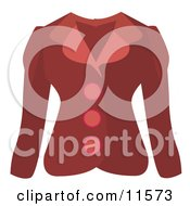 Womans Red Button Up Jacket Clipart Picture