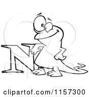 Black And White Happy Newt Leaning On The Letter N